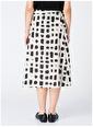Fabrika Comfort Fabrika Comfort Siyah - Beyaz Kare Desenli Kadın Etek Siyah